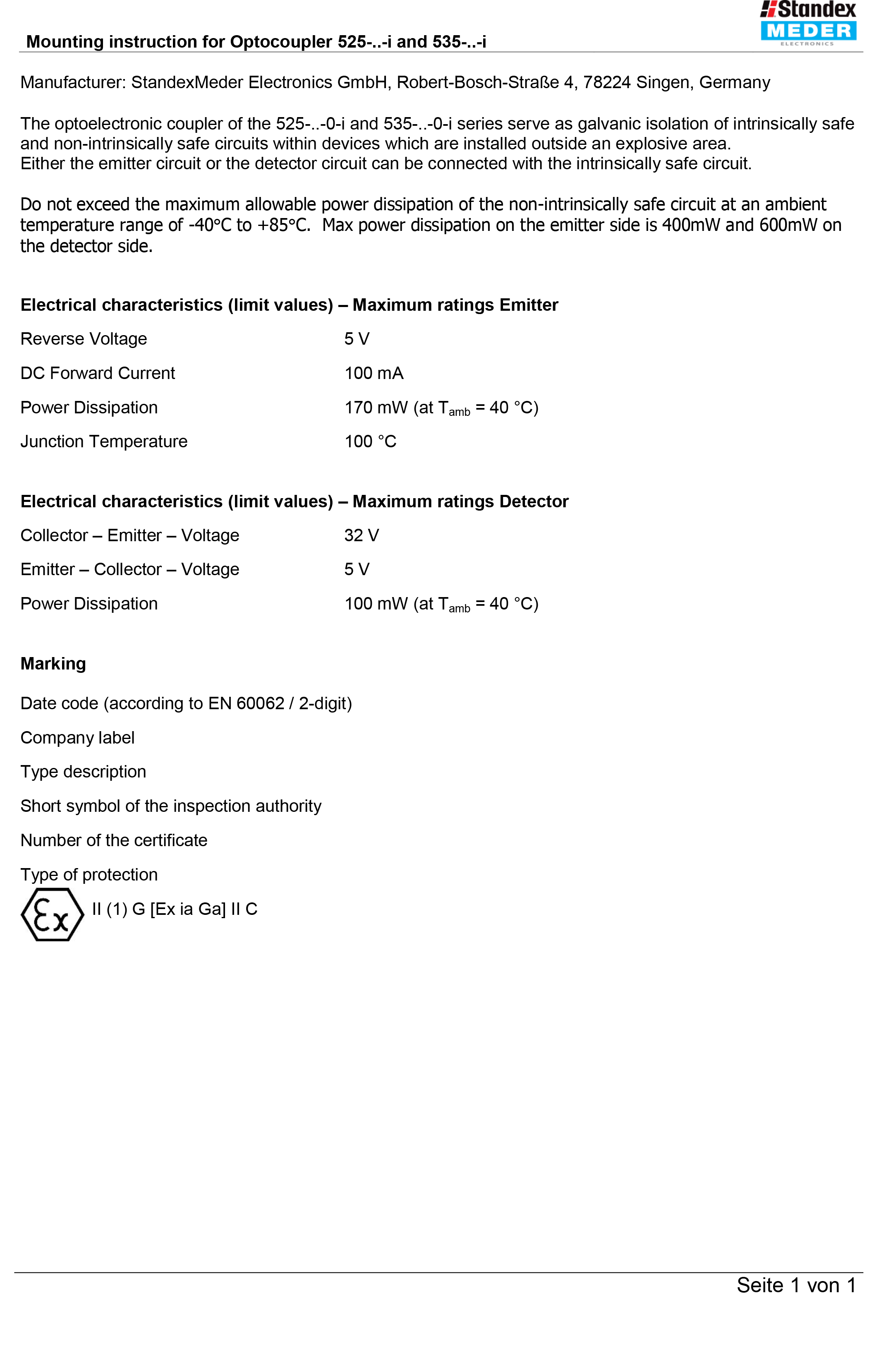 Mounting Instructions for Optocoupler Series 525 & 535 - Standex ...