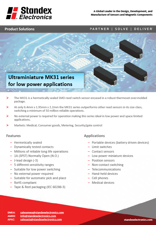 mk31 smd reed sensor solutions