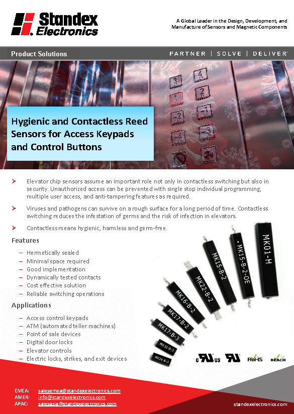 Hygienic and contactless reed sensors for access keypads and control buttons