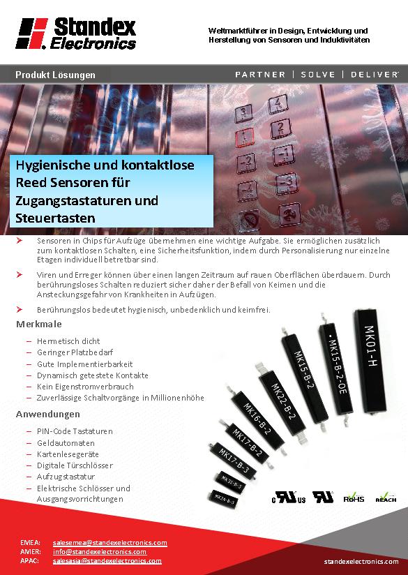 Hygienische und kontaktlose Reed Sensoren für Zugangstastaturen und Steuertasten