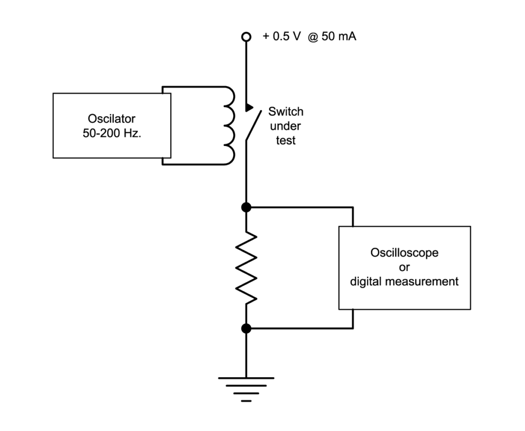 DCR test circuit for reed switch measurement